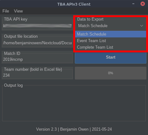 TBA APIv3 Client data to export