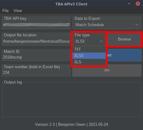 TBA APIv3 Client file type and location