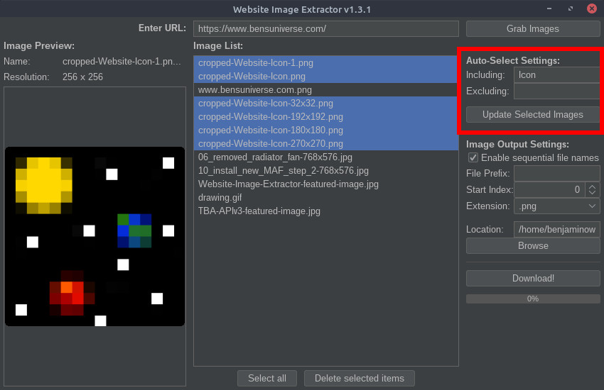 Website Image Extractor auto-select settings
